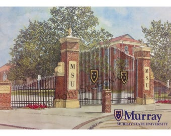 Murray State University LIMITED EDITION Pen and Ink and Watercolor Art Print Illustration - Graduation Gift, university