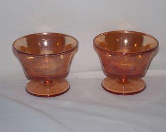 Federal Carnival Glass Marigold Normandie Bouquet Lattice Sherbet Cups