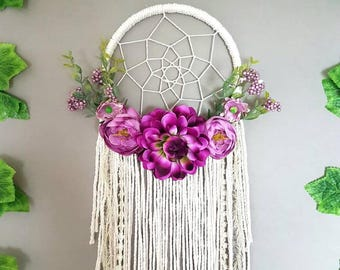 dream catcher, purple dream catcher, dreamcatcher, nursery dream catcher, wedding decor, wedding dream catcher, macrame. Boho floral