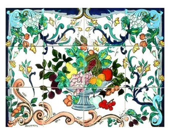 ACCENT WALL MOSAIC 18in X 24in Antique Looking Design Kitchen Backsplash 12 Tiles Decorative Ceramic Wall Mural