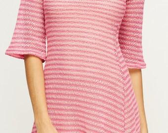 Women's 3/4 Sleeve Striped Swing Dress