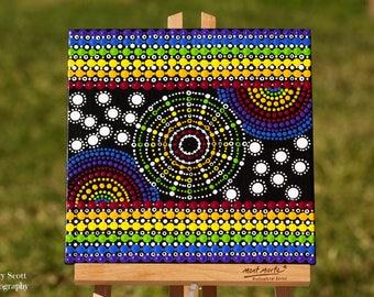 "Original hand painted Dot Art, Dot painting ""Rainbow View"" colourful wall art  #7. Free Shipping"