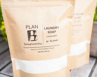 Unscented | All Natural Laundry Soap | Handmade Natural Simple Laundry Detergent Powder | Vegan | Homemade Soap | Cold Process