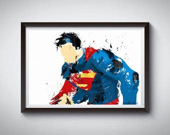 Superman Watercolor Inspired Art Poster Print, Superman Poster
