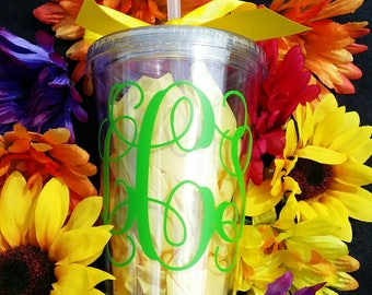 16 ounce clear double wall, BPA FREE, acylic tumbler with lid and straw.