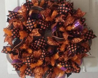 Deco Mesh Halloween Wreath Home Decor Fall Wreath Orange Black Purple Wreath Door Hanger