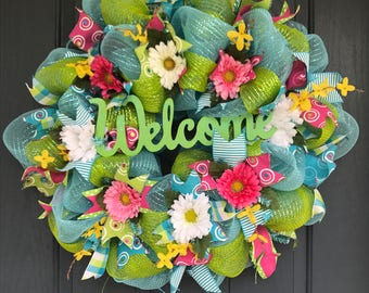 Turquoise and green  mesh summer welcome wreath with flowers