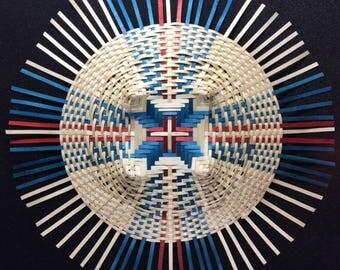 Red white blue Black Ash Mandala Basket Weaving, hand woven basket, wall art, conversation piece, shadow box wall art