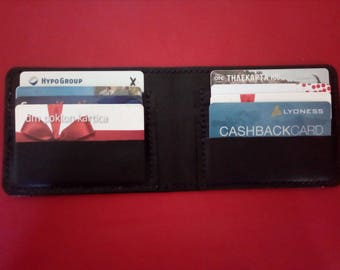 Handmade genuine leather business card holder with 8 card slots
