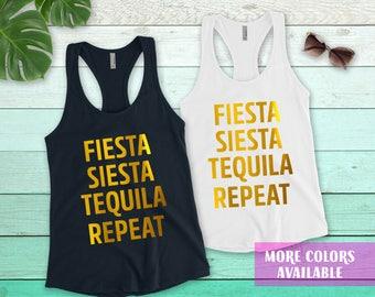 Fiesta, Siesta, Tequila, Repeat bachelorette party tanks , bachelorette shirts, bridal shower, bridal party tank top