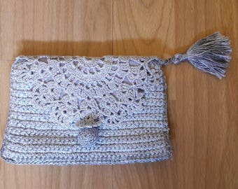 Gray Hand Knit Lacework Coin Purse Cosmetic Bag Makeup Case