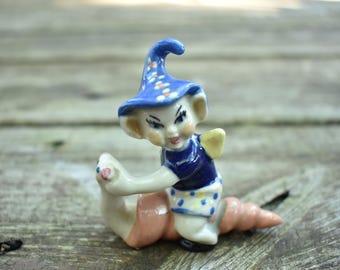 Pixie Elf on a Snail Figurine