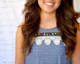 Crochet Lined Chambray Top