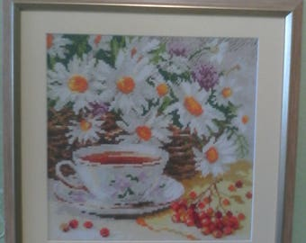 "Embroidered picture ""A cup of tea"""