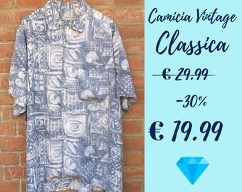 VINTAGE, retro, SHIRT sleeves, azzurra, shabby chic, fantasy, 100% viscose, xL