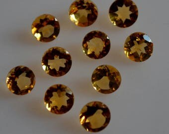 7 mm natural citrine round faceted  loose gemstone AAA quality