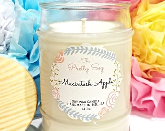 Highly Scented Soy Candle MACINTOSH APPLY , 100% natural soy wax, Licious apple scent !!