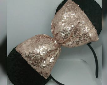 FREE SHIPPING * Black and Rose Gold Mickey Ears, Disney Ears, Sequins Ears, Rosegold, Mouse Ears, Disneybound, Costume Ears, Customizable