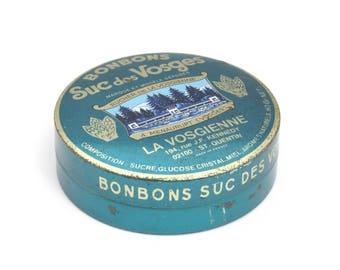 Vintage sweet tin, candy tin, confectionary tin, round tin, french sweets, storage tin, trinket tin, metal tin, BonBons