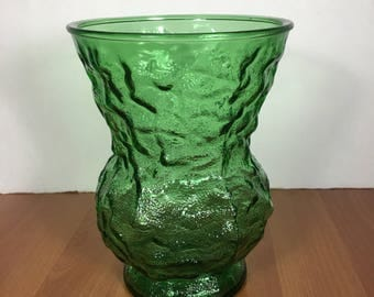 Flower Vase E.O. Brody Cleveland vintage Glass Green Texture Christmas