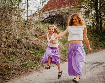 Matching mother daughter skirts, long skirt, Tuba Family look skirts