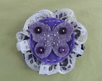 Purple Butterfly and Lace Brooch