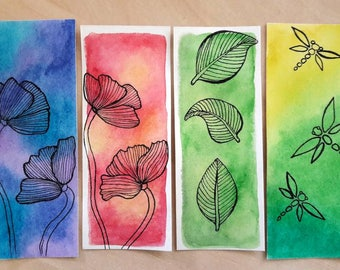 Set of 4 bookmarks / 4 Bookmarks / watercolor bookmarks / handmade bookmarks