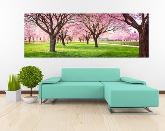 Removable Wallpaper Mural Peel & Stick Panorama of Cherry Blossom Trees
