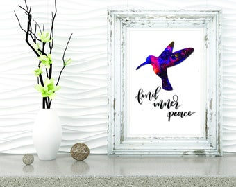 Hand Lettered Hummingbird Print, Modern Calligraphy, Home Decor Print, Hummingbird Watercolor Print, Watercolor Print