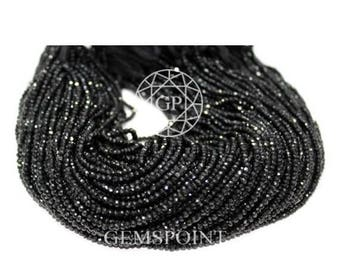 Natural Black Spinel 2.5mm Micro Faceted Roundels, 13 inch Strand, Black Spinel Rondelle Beads (R-SPL-0038)