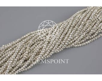1 Strand Natural Silver Pyrite 3-3.5mm Faceted Roundels, 13 inch strand, Silver Pyrite Rondelle Beads (R-PYR-0049)