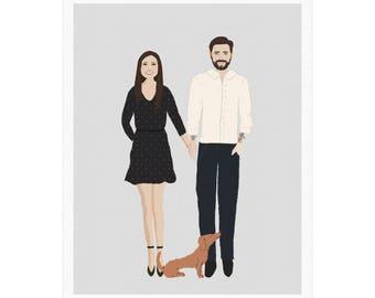Custom made couple portrait, Family portrait, Printable portrait, Customized portrait, Couple illustration, Personalised portrait, gift