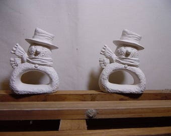 Ceramic Bisque Ready to Paint Snowman Napkin Ring set of 2