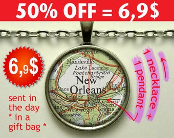 New Orleans map necklace, New Orleans map pendant, New Orleans necklace, New Orleans pendant, map jewelry, keychain key fob N194