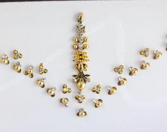 Wedding  Long Gold Forehead Bindi Stickers,Bridal Long Bindis,Bridal Gold Bindis,Bindi,Bollywood Bindi, Long Bindis, Self Adhesive Stickers