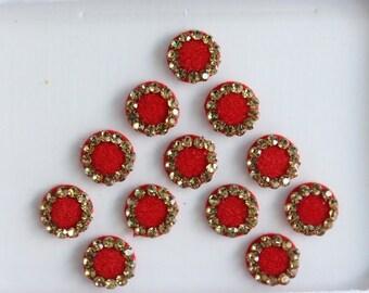 7 mm Red Plain Fancy Round Bindis,Round Bindis,Velvet Red Bindis,Red Round Face Jewels Bindis,Bollywood Bindis,Self Adhesive Stickers Pack