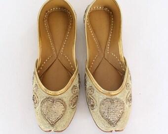 Women Bridal Wedding Shoes/Indian Gold Jutti Shoes/Gold Wedding Flats/Gold Ballet Flats/Jasmine Shoes/Khussa Shoes/Rani Shoes