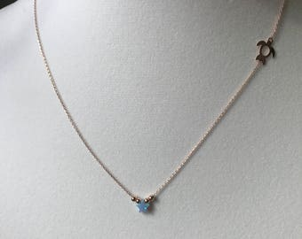 turquoise necklace with turtle or seahorse
