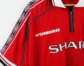 1998–99 Vtg UMBRO Manchester UNITED Home Treble Shirt Jersey Tricot T-Shirt Football Soccer  — XLarge XL — Rare European Vintage Sportswear