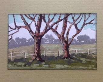 Farm Scene Landscape Art Trees Fence Farm Linda Blondheim Original Art Painting