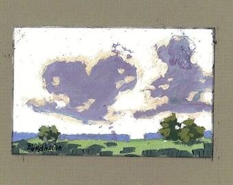 Mini Purple Clouds Landscape Painting Original Florida Art Linda Blondheim