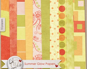Digital Scrapbook Papers, Summer Glow, Digital Papers, Rad and Orange Digital Scrapbook Papers