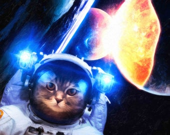 Astro cat. Space cat. Cat astronaut. Photorealism