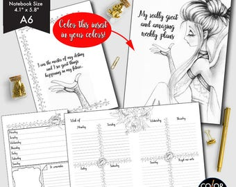 A6 size Amazing Weekly Printable, Weekly Plan Printable Planner Insert.  CMP-238.1