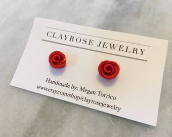 red rose stud earrings, handmade polymer clay rose jewelry