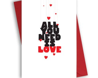 Valentine's Day Card with red envelope, valentine's card for him, for her, all you need is love