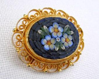 Blue floral mosaic brooch, gold tone mosaic brooch, blue mosaic pin
