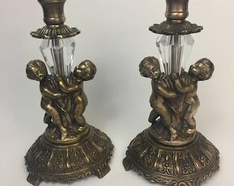 Vintage Antique Cherub Brass Candlestick  holder Taper Candle Holders Crystal Prisms