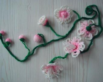 peach flower vine,knitted,plants,handmade,crochet,necklace,lariat,flower,scarf,collar,fascinators,waist strap=flower=MaryDengZF
