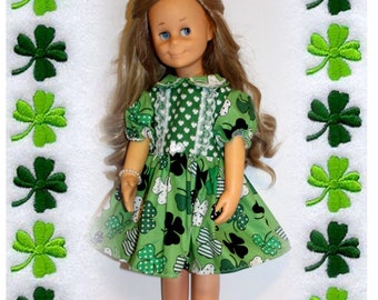 "Charmin Clothes Luck of the Iris Dress fits 24"" tall dolls, like Chatty Cathy's big Sister. St. Patrick's Green Clover Dress & Underwear"